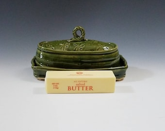 Stoneware Pottery Butter Dish in Translucent Forest Green