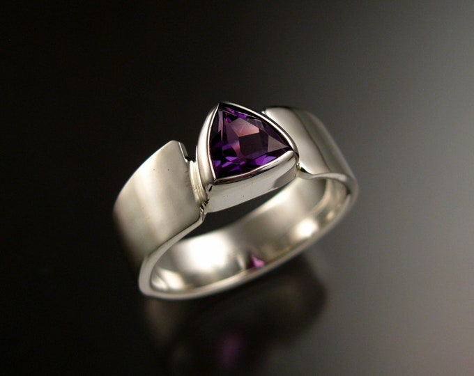 Amethyst Trillion cut triangle ring set in Sterling Silver made to order in your size