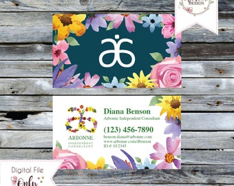 """Floral Watercolor Business Card // 3.5""""x2"""" // Double Sided // Personalized Digital Files"""