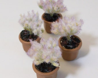 Miniature planter, with fuzzy fowers set of 2 clay pots for Fairy garden or terrariums