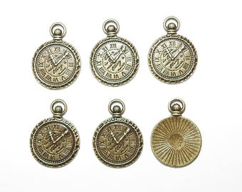 Six bronze tone Steampunk Clock Timepiece Charms Pendants 30mm