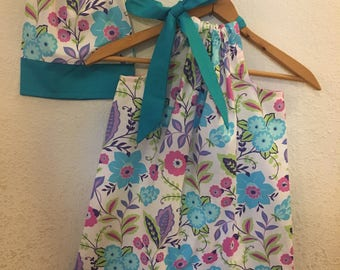 """Doll dress 18"""", matching dresses Dolly and me turquoise  floral  Pillowcase dress   size  5t READY to ship"""