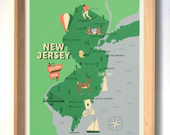 New Jersey Map, The garden state map, original map, nursery map, Home State Map, New Jersey state poster, modern family map