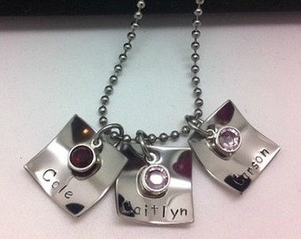 Personalized Hand stamped Triple Square Mommy Family Necklace with Birthstones