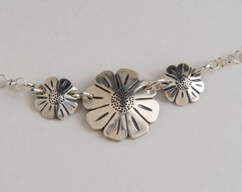 Dimes Silver Daisies Necklace made from 3 Vintage American Silver Coins