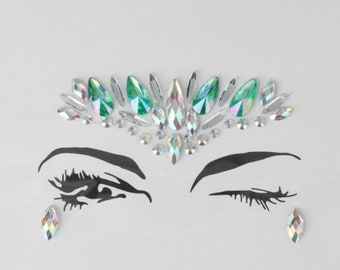 Festival Face Jewels | Green Holographic Face & Body Jewels Sticker For Festival, Rave, EDC, Coachella | Rave Festival Face Gem Stickers