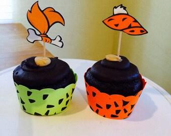 Pebbles Flintstone and Bam Bam  Cupcake Topper