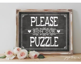Instant 'Please Sign Our Puzzle' Printable 8x10, 11X14 Event Sign Wedding Party Printable Chalkboard Guestbook Alternative