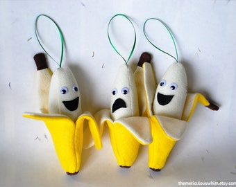 Banana Ornament - Personalized Christmas Ornament - Funny Plush Food Ornament - Holiday Ornament - Funny Gift - Kid-Friendly Ornament
