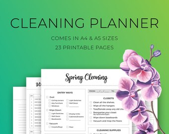 Cleaning Planner Printable, Cleaning Checklist, Spring Cleaning, Daily Cleaning Schedule, 30 day Cleaning Challenge, Weekly cleaning, A4, A5