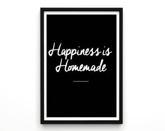 Happiness is Homemade - Typography Poster, Typography, Typography Art, Motivational Art, Inspirational Quotes, Typography Quote, Poster,