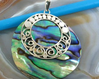 Abalone and Silver, pendant  --  4369