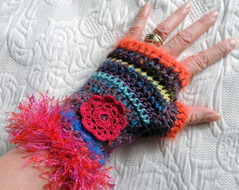 Wool crochet mittens, colorful Orange and pink