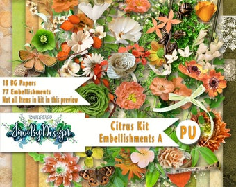 Digital Scrapbooking CITRUS kit packed full of beautiful, bright flowers and awesome greenery, branches, vines
