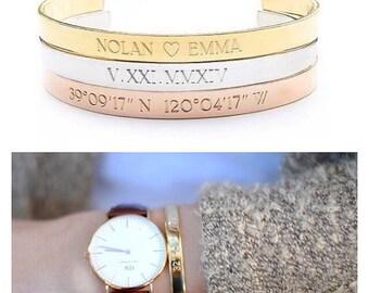 SILVER COORDINATE bracelet - coordinates cuff - location bracelet - GPS cuff - coordinates bracelet - personalized bracelet - custom