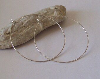 LARGE Hoop Earrings - 1.75 inch - Sterling Silver or Yellow Gold Filled or Rose Gold Filled - Hammered or Smooth - Made to Order