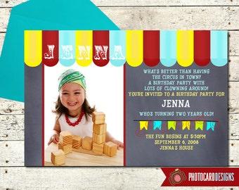 Circus Photo Birthday Invitation | Circus Invitation | Circus Birthday | Carnival | Big Top | Card | Digital | DIY | Print file invite