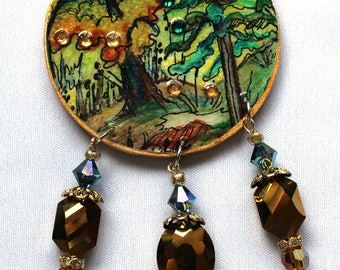 Painting pendant crystal gold