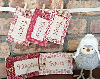 Personalised Fabric Name Tag for Santa Sack Christmas Stocking Name Tag Gift Tag Vintage Style