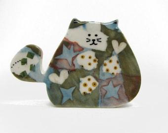 Fat Cat, Cat Lover Gift, Ceramic Sculpture, Cat Ornament, Pottery Cat, Cat Figurine, Cat Sculpture, Kawaii Cat, Porcelain Cat, Cat Ears