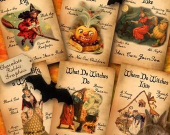 Halloween Witch Clip Art Digital Download Vintage Printable WItch Handbook Scrapbooking Collage Sheet