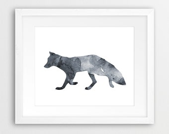 Fox Watercolor Printable, Fox Watercolor Grey, Black And White, Fox Print, Woodland Animals, Modern Wall Art, Nursery Decor, Downloadable