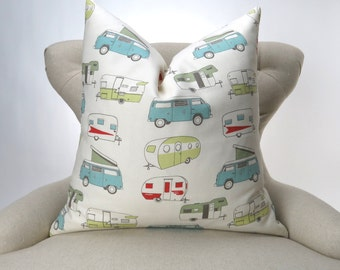 Vintage Camper Pillow Cover -MANY SIZES- Throw Pillow, Euro Sham, Decorative Throw, VW Bus, Pop Top, Formica/Macon by Premier Prints