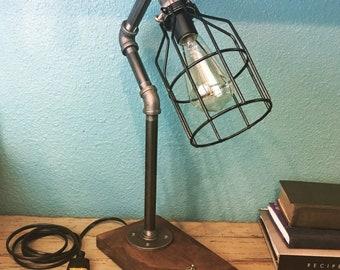 Industrial pipe walnut base Edison bulb desk lamp