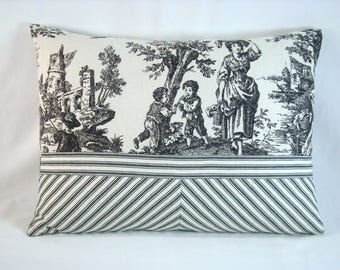 Waverly Country Life Pillow Toile de Jouy Lumbar Pillow Cover Toile and Ticking Lumbar 12x17 Cover