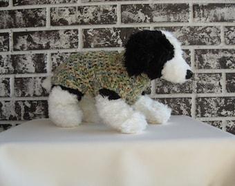 Dog sweater, xs pet sweater, small dog sweater, classic dog sweater, blue-green multi color dog sweater