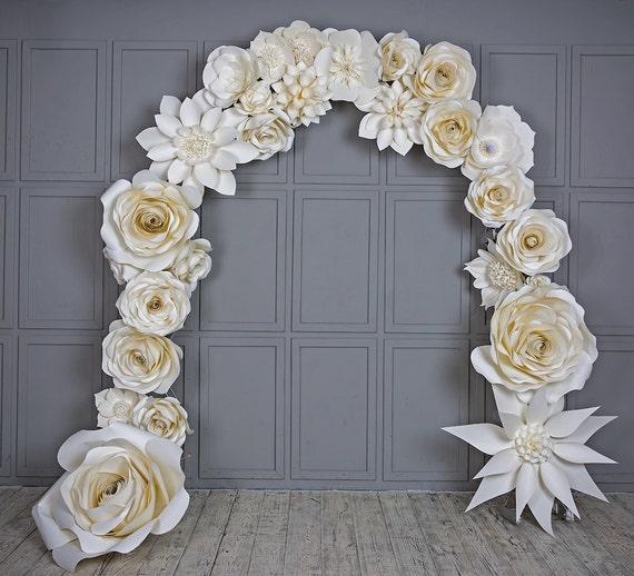 Wedding Arch Flower Decorations: Wedding Arch Paper Flowers Wedding Venue Decoration White