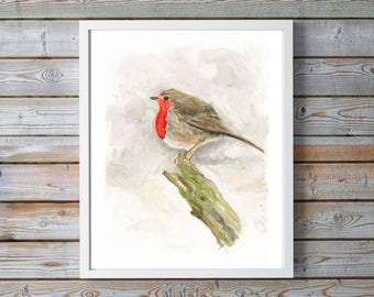 Robin Bird Print, Robin Poster, Robin Bird Art, Watercolor Bird Prints, Twitchers Gifts, Robin Redbreast, Retirement Gift for Man, Robin Art