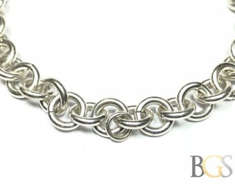 Beautiful Ladies Sterling Silver Chain Link Bracelet - Take A Look! - Must See!