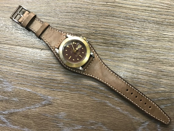 Leather watch band, Brown Watch band, Full bund strap, Leather Cuff watch Strap 20mm, Racing Watch strap, Rally Watch Band, FREE SHIPPING