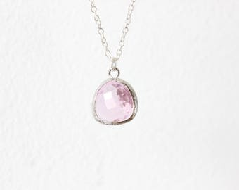 Pink bridesmaids necklace Silver Pink necklace Clear Pink bridesmaids necklace Crystal Pink Necklace Blush Necklace Blush Jewelry Pink Jewel