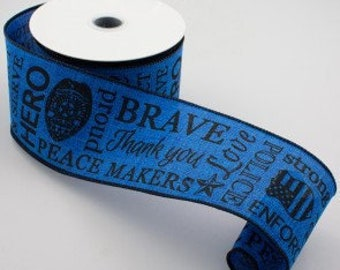 "2.5"" wide 5 yards of Special Black and Royal Blue Police Support Enforcer themed Wired Edge Canvas style Ribbon."