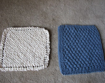 set of 2 Handmade Knitted dish/ face/ baby wash cloths
