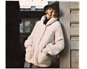 Cardigan Knitting Pattern Vintage Chunky Sweater Pattern 70s Rolled Collar S M L PDF S105