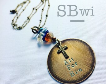 All for Him necklace in bronze with mixed stone detail