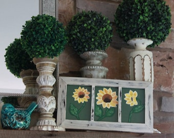 Rustic Handpainted Sunflowers in a distressed picture frame