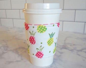 Reusable Coffee Sleeve-Pineapple print