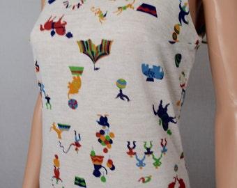Vintage 1960's Lanz Originals CIRCUS Animal Elephant Knit Novelty Print HiPPiE Beach Sun Dress VLV Size S M