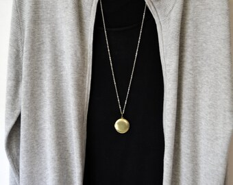 ANTIQUE BRASS LOCKET Necklace Long Chain Boho Layering Jewelry Round Locket Necklace Antique Brass Locket Choice of Chain