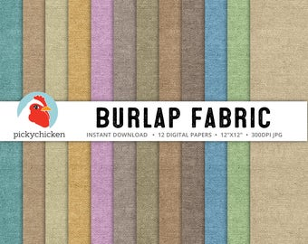 Burlap Digital Paper - 12 fabric textured papers neutral brown tan blue teal green pink photography backdrop 8096
