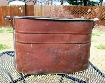 Antique Copper Boiler, Copper Tub Rustic, Farm Decor, Copper Planter, French Country Decor