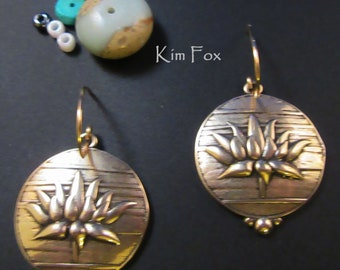 Lotus Bloom Earrings in Sterling Silver or Golden Bronze designed by Kim Fox 1 by 1.25  inch drop or 25 by 30mm