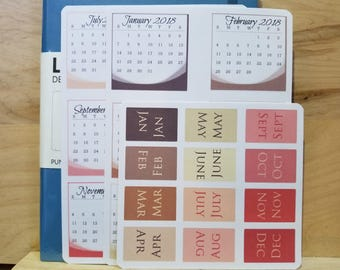 Monthly Mini-calendars + Month Tab Stickers for Bullet Journal