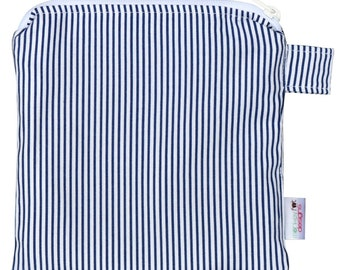 X Small 6.5 x 6.5 Wet bag / Reusable Snack Bag / Toys / Electronics / Navy Stripe Fabric / SEALED SEAMS