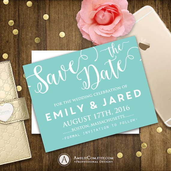 Printable Save the Date Card light blue teal turquoise