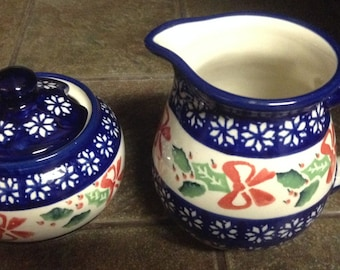 Polish Pottery Cream and Sugar Set, Christmas